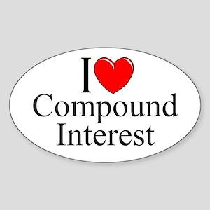 """""""I Love (Heart) Compound Interest"""" Oval Sticker"""