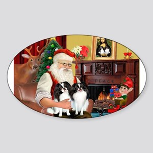 Santa's 2 Japanese Chins Sticker (Oval)