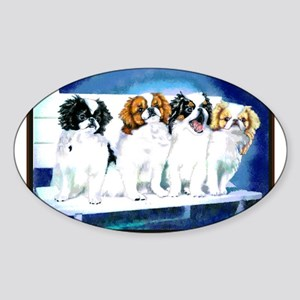 Japanese Chin Puppies Oval Sticker