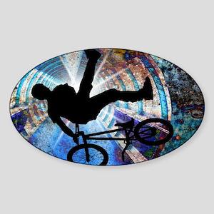 BMX in a Grunge Tunnel Sticker (Oval)