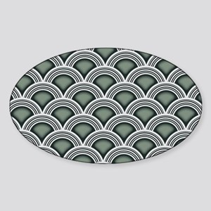 Art Deco Concentric Sage Sticker (Oval)