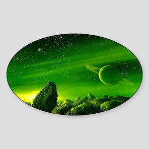 Alien ringed planet, artwork Sticker (Oval)