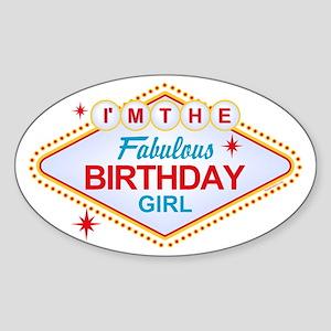 Las Vegas Birthday Girl Oval Sticker