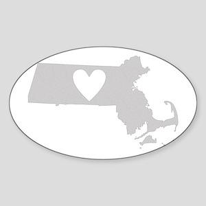 Heart Massachusetts Sticker (Oval)