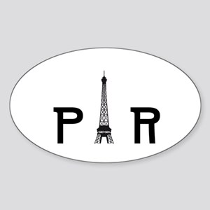 Love Paris with Eiffel tower and re Sticker (Oval)