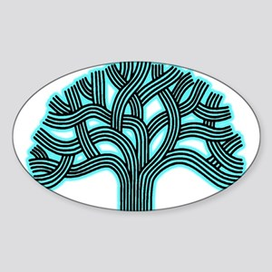 Oakland Tree Hazed Teal Sticker (Oval)