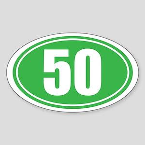 50 green oval Sticker (Oval)