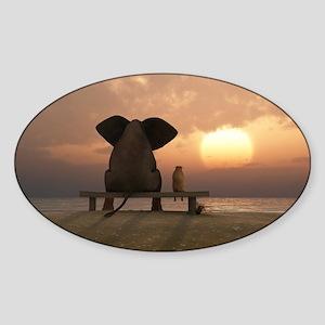 Elephant and Dog Friends Sticker (Oval)