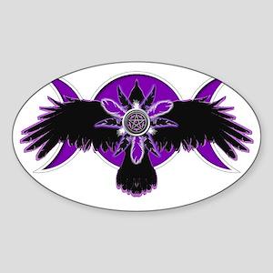 Crow Triple Goddess - Purple Sticker (Oval)