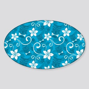Tropical Floral Tiki Turquoise Sticker (Oval)