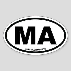 MA Massachusetts Euro Oval Sticker