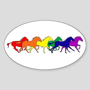 Horses Running Wild Oval Sticker
