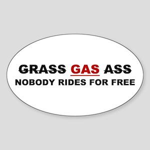 """GRASS """"GAS"""" ASS Oval Sticker"""