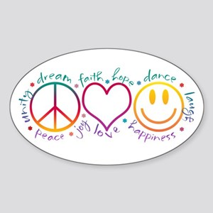 Peace Love Laugh Sticker (Oval)