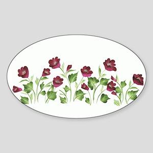 Purple Poppies Oval Sticker