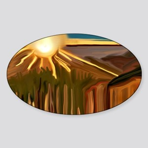 Dance of the Cacti Abstract Art Sticker (Oval)