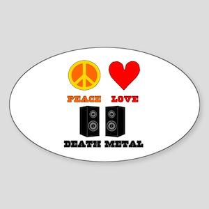 Peace Love Death Metal Sticker (Oval)