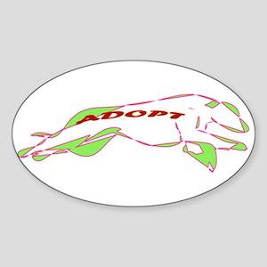 Adopt a Greyhound - Retro Sticker (Oval)