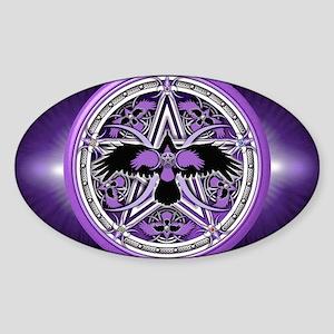 Purple Crow Pentacle Banner Sticker (Oval)