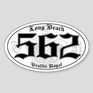 """""""LONG BEACH 562 OLD SKOOL"""" Oval Sticker"""