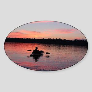 Kayaking at Sunset Sticker (Oval)