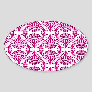 Damask Pink Sticker (Oval)