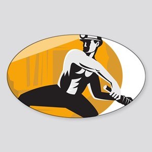Coal Miner With Pick Ax Striking Re Sticker (Oval)