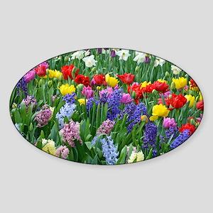 Spring garden flowers Sticker (Oval)