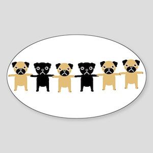StringOPugs Oval Sticker