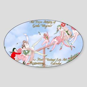 1 A Gerda Wegener Art Deco Calendar Sticker (Oval)