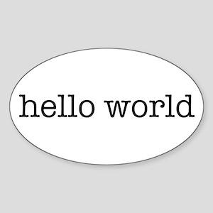 Hello World Oval Sticker