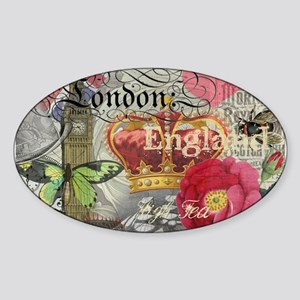 London England Vintage Travel Collage Sticker