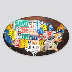 United States License Plate Map Sticker (Oval)