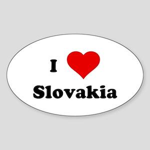 I Love Slovakia Oval Sticker