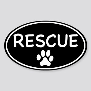Rescue Black Oval Oval Sticker