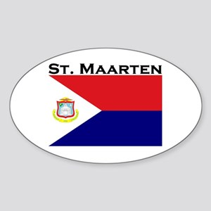 St. Maarten Flag Oval Sticker