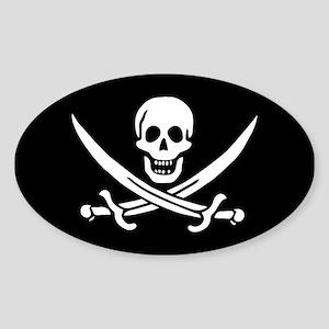 Calico Jack Rackham Jolly Rog Sticker (Oval)