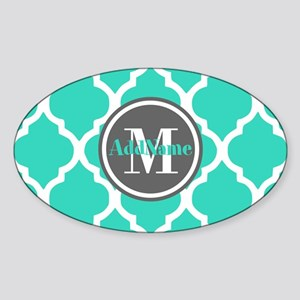 Teal Gray Quatrefoil Pattern Monogr Sticker (Oval)