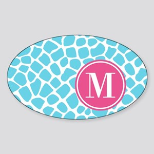 Aqua Pink Animal Print Monogram Sticker (Oval)