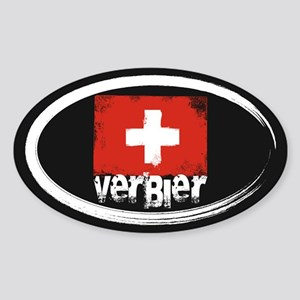 Verbier Grunge Flag Sticker (Oval)