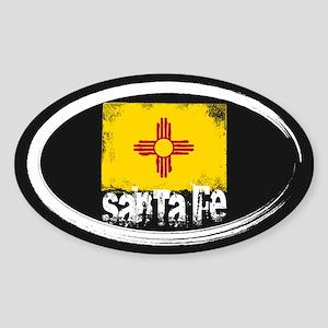 Santa Fe Grunge Flag Sticker (Oval)