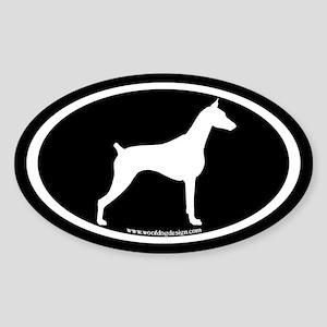 Doberman Pinscher Oval (w/b) Oval Sticker