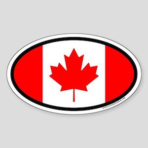Maple Leaf Flag of Canada Euro Oval Sticker