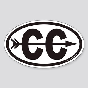 Cross Country Running CC Euro Oval Sticker with Ar