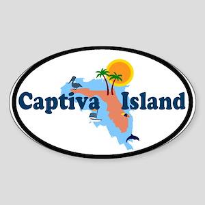 Captiva Island FL - Map Design Oval Sticker