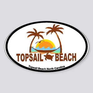 Topsail Beach - Palm Trees Design Sticker (Oval)