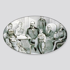 The Garfield family - 1882 Sticker (Oval)