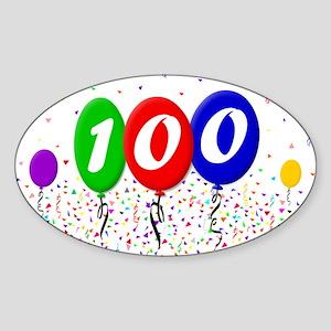 100th Birthday Oval Sticker