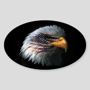 American Flag Eagle Oval Sticker