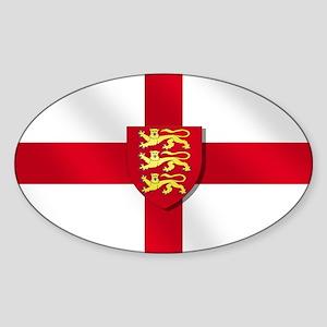 England Three Lions Flag Sticker (Oval)